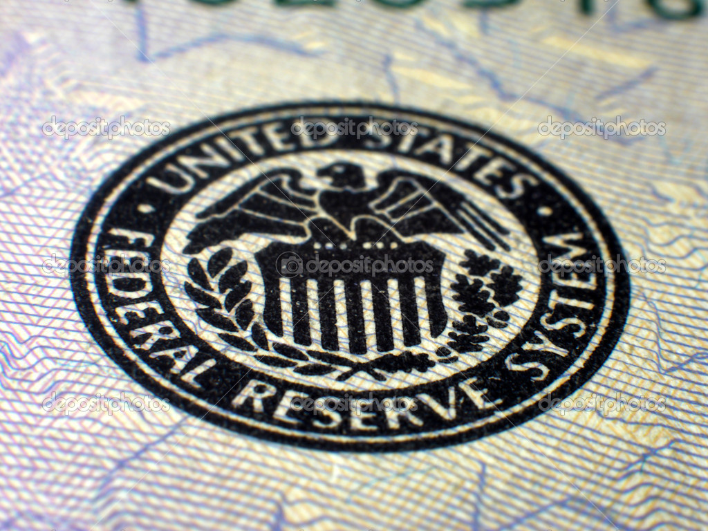 Perspective shot, shallow depth of field, selective focus macro close-up of Federal Reserve logo on USA Federal Reserve Note